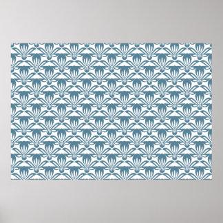 Blue fleur de lys pattern poster