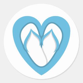 Blue flip flop design classic round sticker