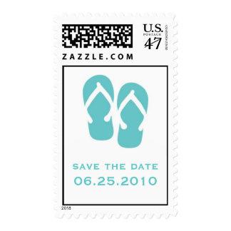Blue flip flop save the date wedding postage