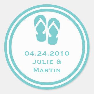 Blue flip flop thong wedding favor tag seal label