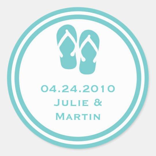 96a36a866e907 Blue flip flop thong wedding favor tag seal label