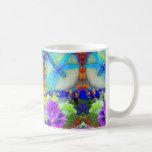Blue Flirting Dragonflys Purple Flowers by Sharles Classic White Coffee Mug