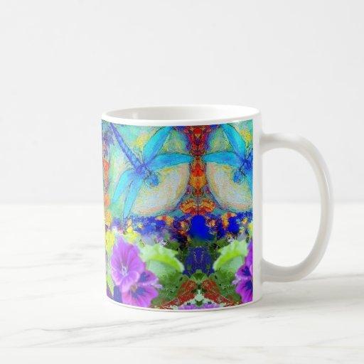 Blue Flirting Dragonflys Purple Flowers by Sharles Coffee Mugs