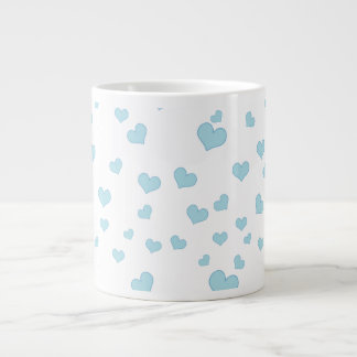 Blue Floating Hearts Background Cover Giant Coffee Mug