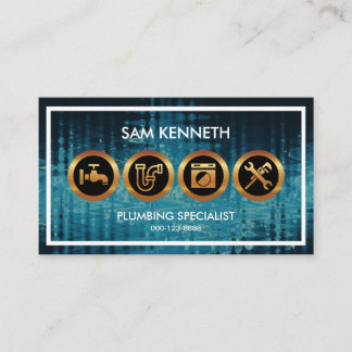 Blue Flood Waters Creative Plumber's Icon Business Card