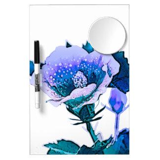 Blue Flora  Dry Erase Boar Dry Erase Board With Mirror