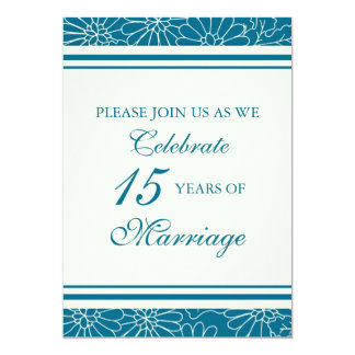 Blue Floral 15th Anniversary Party Invitation