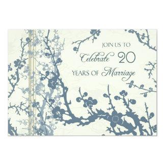 Blue Floral 20th Anniversary Invitation Card