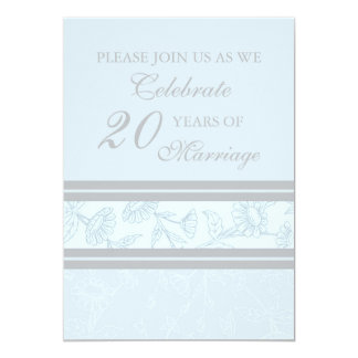 Blue Floral 20th Anniversary Party Invitation Card