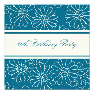 Blue Floral 30th Birthday Party Invitations