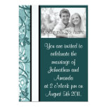 "Blue Floral 5"" X 7"" Invitation Card"