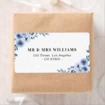 blue floral address label