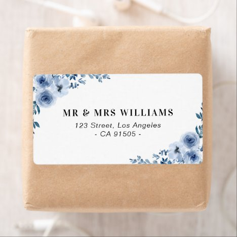 blue floral address label