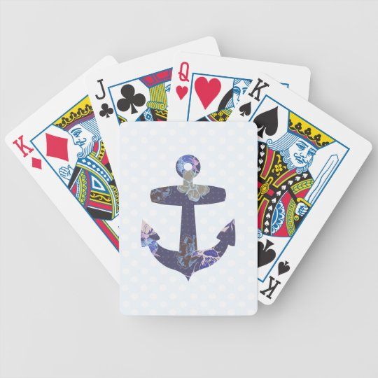 Blue floral anchor playing cards deck
