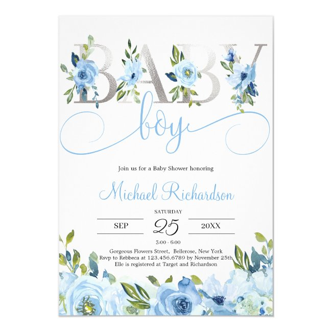 Blue Floral and Silver Foil Boho Invitation