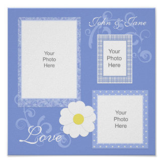 Blue Floral And Swirls Scrapbook Page Poster