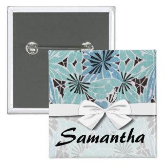 blue floral art nouveau design 2 inch square button