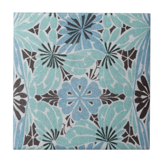 blue floral art nouveau design ceramic tile