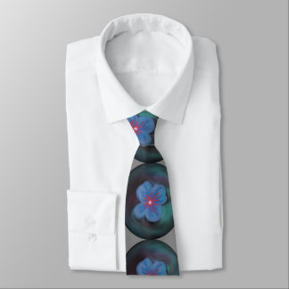 Blue Floral Art Tie on Gray Background