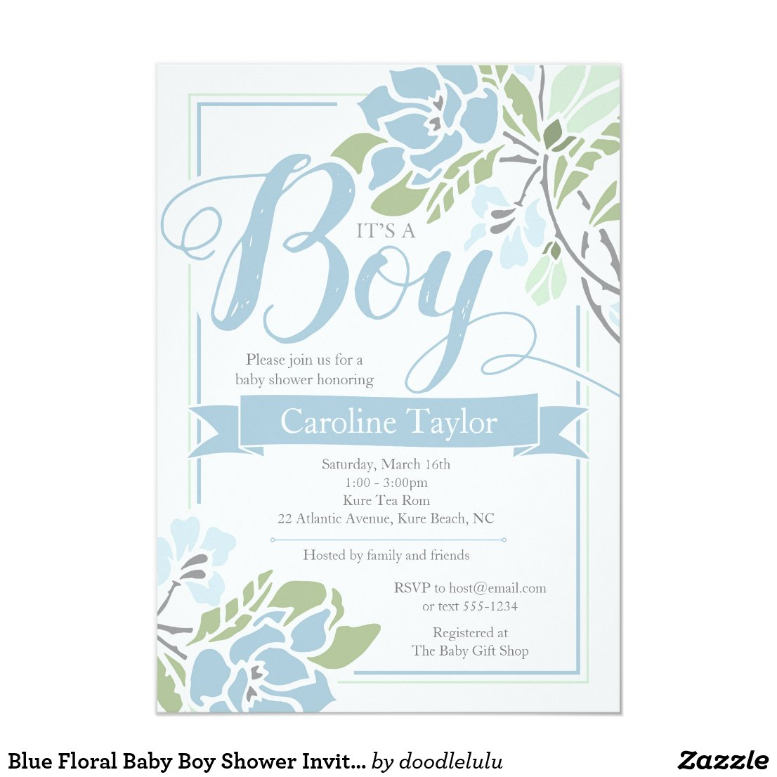 Blue Floral Baby Boy Shower Invitation