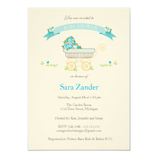 Blue Floral Baby Carriage Baby Shower Invitation
