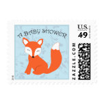 Blue Floral Baby Shower Woodland Fox Postage Stamps