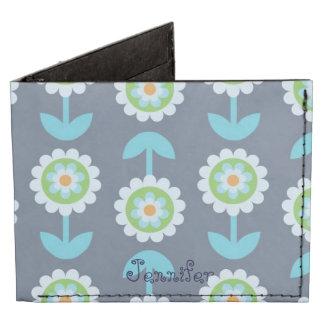 Blue Floral Bifold Wallet Tyvek® Billfold Wallet