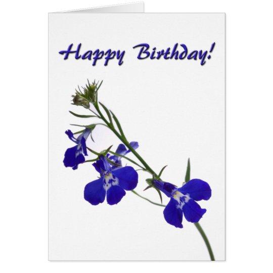 Blue Floral Birthday Card