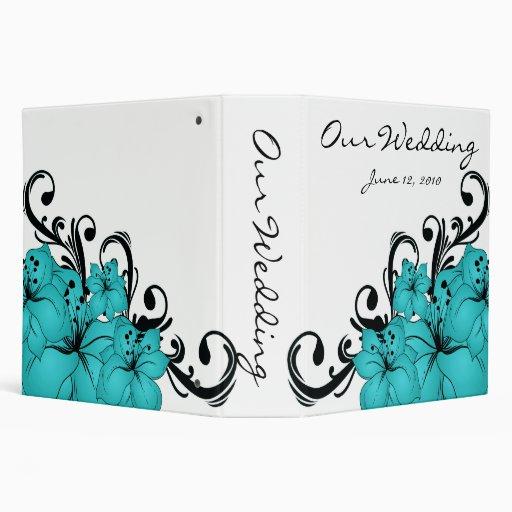 Blue Floral Black Scroll 3 Ring Binder