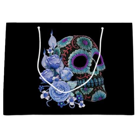 Blue Floral Black Sugar Skull Day Of The Dead Large Gift Bag