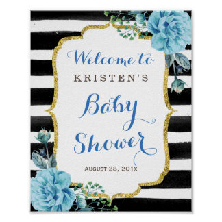 Blue Floral Black White Striped Baby Shower Sign