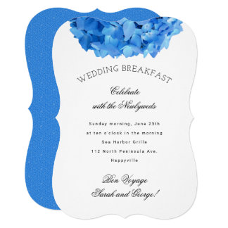 Blue Floral Bon Voyage Wedding Breakfast Invite