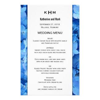 Blue Floral Border Wedding Menu Template