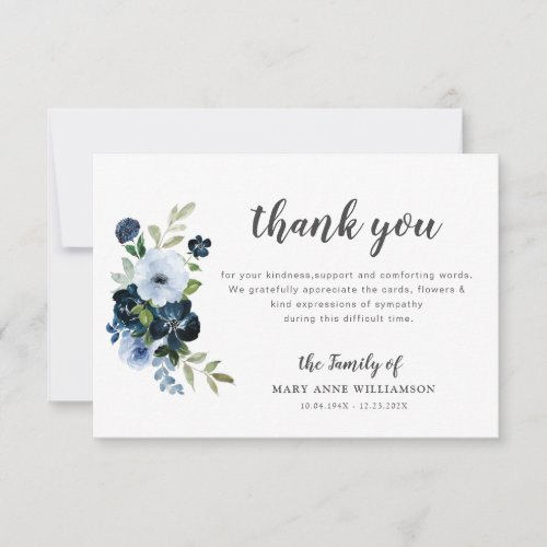 blue floral botanical funeral thank you note