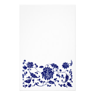 Blue floral bottom border customized stationery