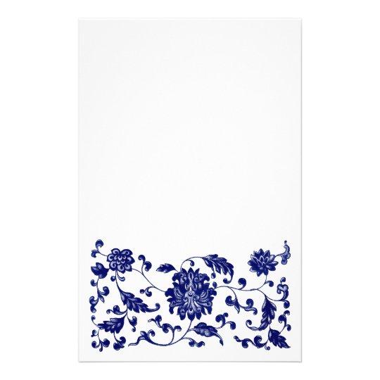 Blue floral bottom border stationery