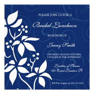 Blue Floral Bridal Luncheon Invitation Cards