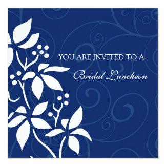"Blue Floral Bridal Luncheon Invitation Cards 5.25"" Square Invitation Card"