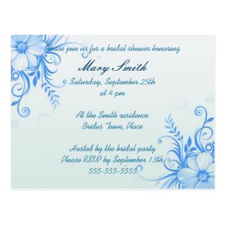 Blue floral bridal shower invitation postcard