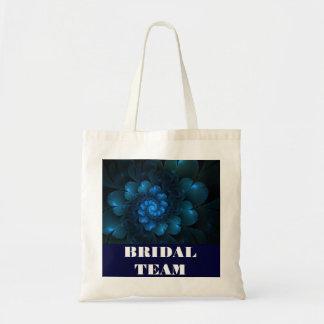 BLUE FLORAL BRIDAL TOTE