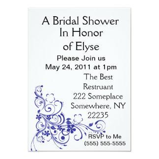 Blue Floral Burst Bridal Shower Invitations