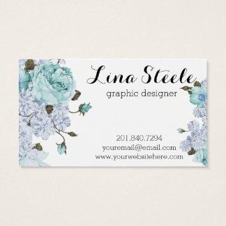 Blue Floral Business Card