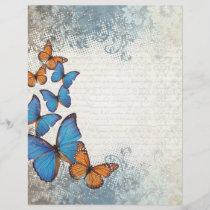 Blue floral butterflies