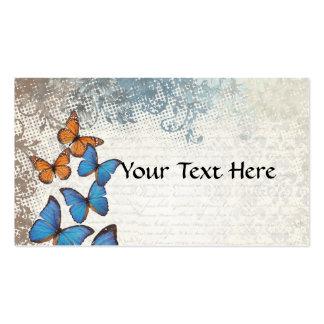 Blue floral butterflies business cards