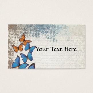 Blue floral butterflies business card