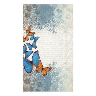 Blue floral butterflies business card template