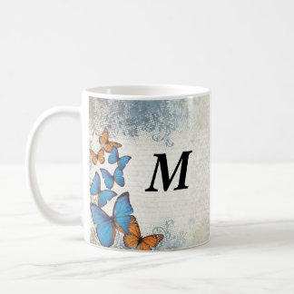 Blue floral butterflies coffee mug