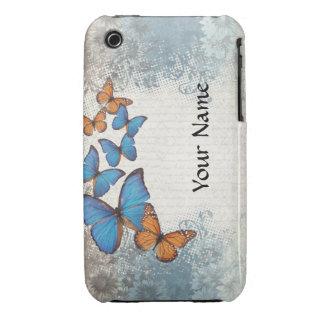Blue floral butterflies iPhone 3 Case-Mate case
