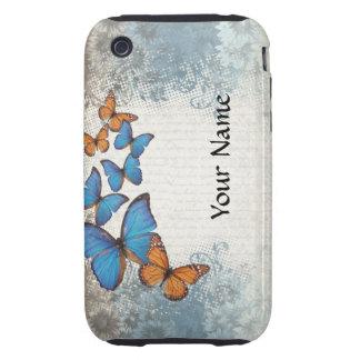 Blue floral butterflies iPhone 3 tough case