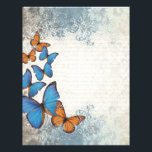 "Blue floral butterflies letterhead<br><div class=""desc"">Easily personalize this pretty romantic blue floral butterfly and garden collage with your name,  text or monogram initials, . Visit the VINTAGE PRINTS STORE  for matching products. CLICK CUSTOMIZE to adjust the text size,  position,  color or font.</div>"